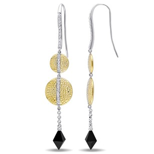 Versace 19.69 Abbigliamento Sportivo 18k Gold Covered Silver Onyx Earrings