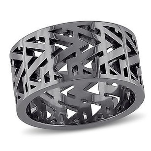 Other Versace 19.69 Abbigliamento Sportivo Srl Silver With Black Plating Openwork Ring