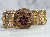 Other Victorian 18kt Yellow Gold Garnet Pearl Flower Bangel Slide Bracelet