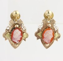 Victorian Revival Cameo Agate Earrings - 14k Yellow Gold Dangle Womens Estate