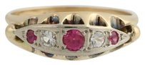 Victorian Revival Cocktail Ring - 14k Gold Syn. Ruby Syn. White Spinel .40ctw