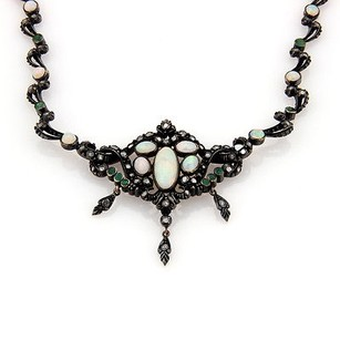 Victorian Silver 14k Yg Opal Diamond And Emerald Dangle Pendant Necklace