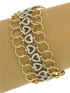 Other Vintage 14k Two Tone Gold 4ctw Diamond Heart Wide Chain Link Bracelet