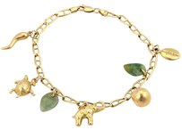 Vintage 14kt Yellow Gold Jade Jadeite Animal Carved 7 Charms Bracelet