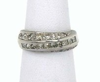 Vintage Estate Platinum 1.5ctw Baguette Round Cut Diamond Wedding Band