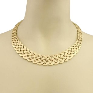 Vintage Graduated Woven Design Wide Collar Necklace In 14k Yellow Gold
