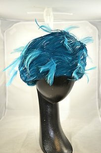 Vintage Jack Mcconnell Boutique Bright Teal Feathered Hat