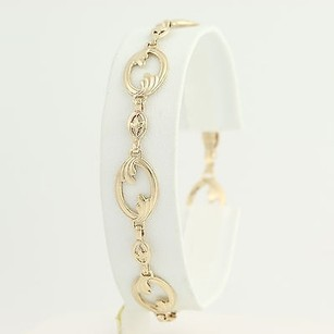 Vintage Oval Link Bracelet - 10k Yellow Gold Womens 7.25 Chased