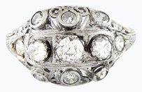 Other Vintage Platinum Old Miners Diamond Ring