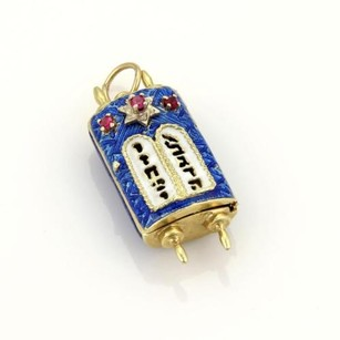 Other Vintage Rubies Enamel 18k Yellow Gold Torah Double Scroll Pendant