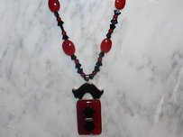 Vintage Seaman Schepps 14kt Gold Onyx And Agate Necklace Pendant Carved Beads