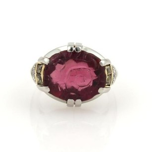 Other Vintage Unique 8.33ct Carved Pink Tourmaline Yellow White Diamond 18k Gold Ring