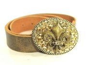 Vintage Wear Cali Brass Crystal Fleur De Lis Buckle Leather Belt Brown