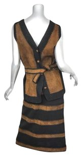 Vintage Womens Blackbrown Leather Crochet Calf Length Skirt Vest Suit Outfit