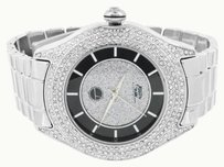 Black White Dial Watch Simulated Diamonds Round Face Analog Water Resistant Jojo