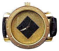 Genuine Diamond Black Rhombus Diamond Max Joe Rodeo Watch In Yellow Finish .06ct