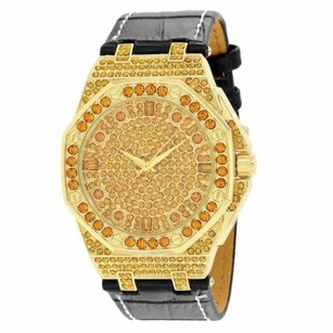 Iced Out Hip Hop Watch Gold Tone Canary Simulated Diamonds Leather Band Mens