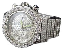 Iced Out Stainless Steel Simulated Diamond Watch White Gold Finish 48mm Br-02