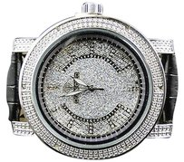 Mens Diamond Master Diamond Max Row Black Yellow Genuine Diamond Watch 0.06 Ct