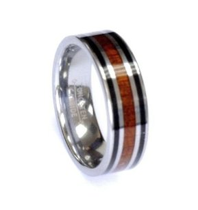 Amz 8mm Wood Chrome Black Combo Tungsten Carbide Ring Men Jewelry Wedding Band