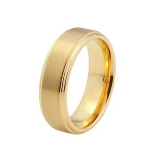 Amz 8mm Gold Pltd Brushed With Polished Edge Tungsten Wedding Band Ring By Cohro