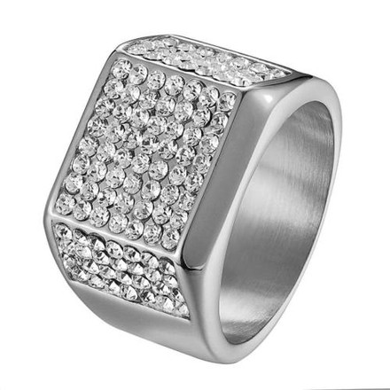 Hip Hop Wedding Engagement Ring Iced Out Stainless Steel Mens Bling Pinky Mens 20081346