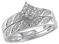 Sterling Silver 110 Ct Diamond Tw Bridal Set Ring 925 Gh I2i3
