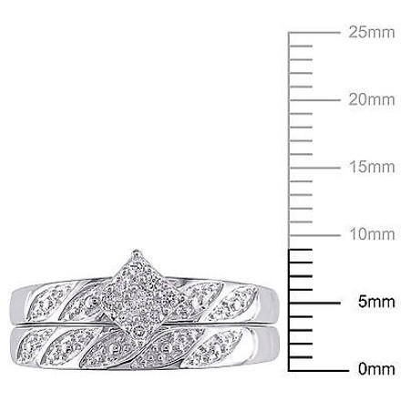 Other Sterling Silver 110 Ct Diamond Tw Bridal Set Ring 925 Gh I2i3