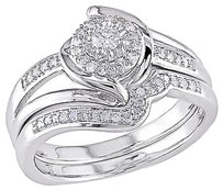 Other Sterling Silver 14 Ct Diamond Tw Bridal Set Ring Gh I2i3