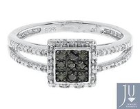 White Gold Finish Ladies Black White Diamond Engagement Fashion Ring 0.25 Ct