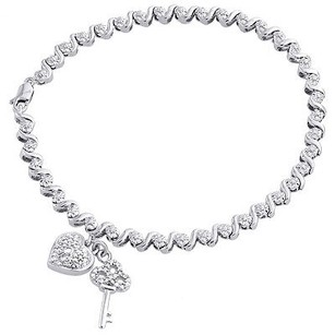 White Gold Finish Ladies Round Diamond Heart Style Link 7.5 Bracelet 0.11 Ct.