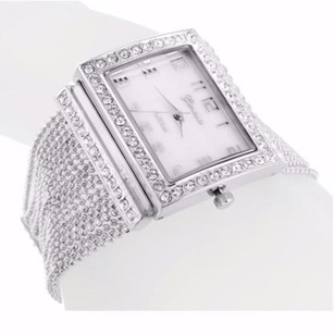 White Gold Finish Square Face Lab Diamond Watch Bead Ball Chains Band Rodeo Jojo