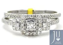 White Gold Round Diamond Halo Stone Bridal Wedding Band Engagement Ring Set