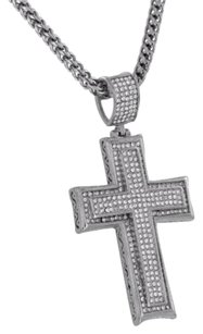 Other White Rhodium Cross Pendant Stainless Steel White Simulated Diamond Franco Chain