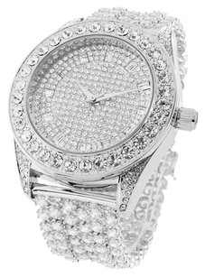 White Simulated Diamonds Watch Fully Iced Out Stainless Steel Back Rodeo Look