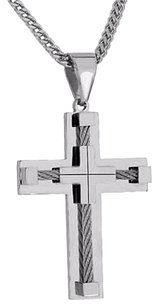 Wire Design Cross Pendant White Stainless Steel Franco Chain Custom Elegant