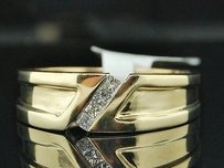 14k Mens Yellow Gold Princess Cut Diamond Wedding Band