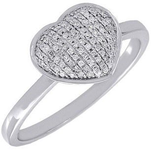 Diamond Heart Ring Ladies 14k White Gold Round Cut Promise Band 0.18 Tcw.