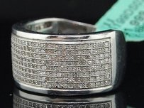 Diamond Wedding Band Ladies .925 White Gold Finish Round Pave Ring 0.88 Tcw.