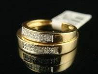 14k Ladies Mens Wedding Band Diamond Ring Dual Set
