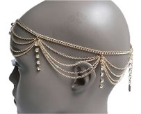 Women Gold Head Metal Body Chain Jewelry Rhinestone Fashion Hair Accessories