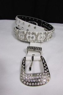 Women White Faux Leather Western Fashion Belt Silver Rhinestones Metals