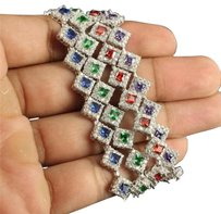 Other Womens .925 Silver Bracelet In Green Red Blue Purple Princess Cut Lab Diamond