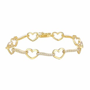 Womens Bracelet Heart Link Gold Tone Sterling Silver Simulated Diamond