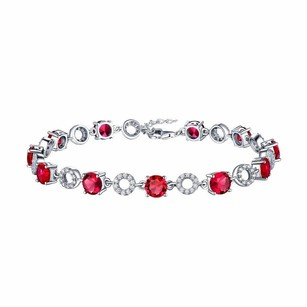 Womens Bracelet Ruby Solitaire White Gold Over .925 Silver Simulated Diamond