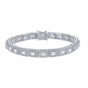 Other Womens Bracelet Sterling Silver Princess Cut Simulated Diamond