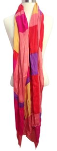 Womens Pink Purple Gold Color Block Spring Scarf