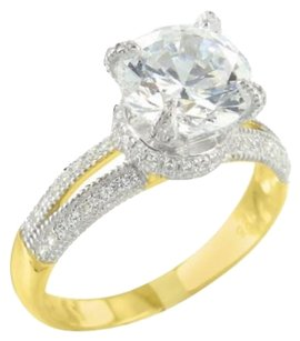 Womens Round Solitaire Ring Lab Diamond Classy Bridal Wear Engagement Gold Tone
