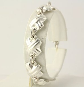 Woven X-link Bracelet - Sterling Silver 925 Polished Womens 7.25 Ring Toggle