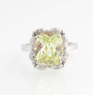 Yellow Cz Cocktail Ring - Sterling Silver 925 Cubic Zirconia Fashion Jewelry